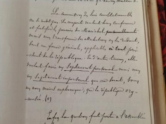 p. 515 : Batbie, Président du bureau de la commission des lois constitutionnelles, relate les débats de la fin d'année 1874 et évoque le rôle du Président de la République...