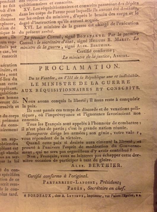 Affiche proclamation ventôse 2