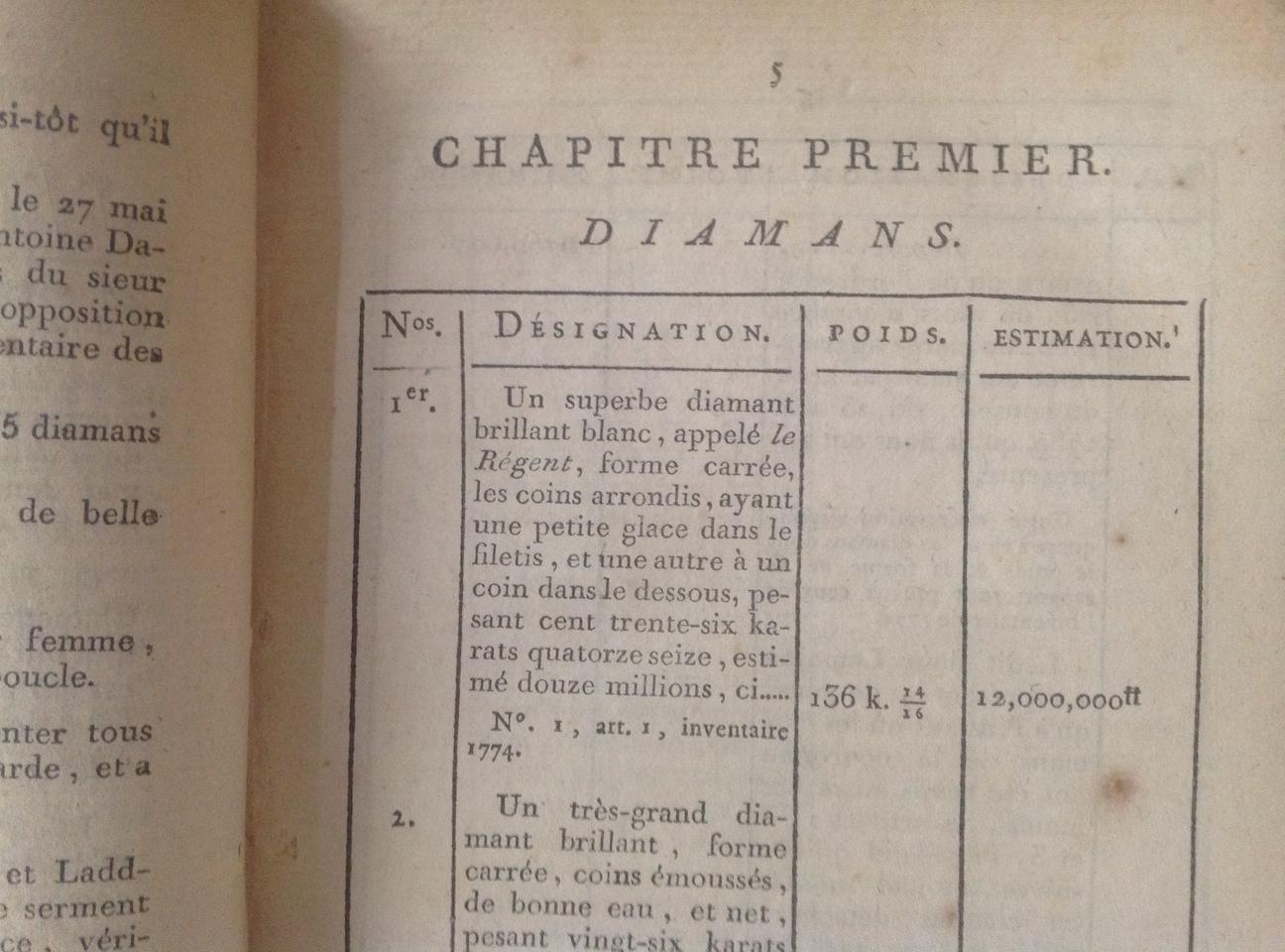 L Inventaire Des Diamans De La Couronne Au Garde Meuble